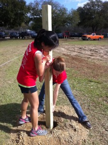 Placing posts for a playground